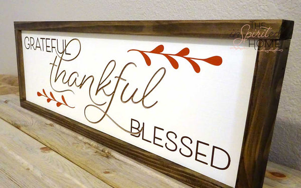 Thankful Grateful Blessed - Gallery wall sign