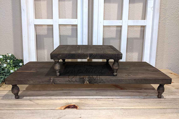 Wood two tier tray, tiered wooden riser, kitchen pedestal, bathroom wood stand, tray centerpiece, farmhouse kitchen tray, tiered stand