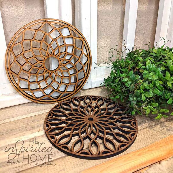 Decorative Wooden Doily - Set of 2