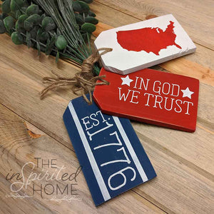 Patriotic Wood Tag Sign