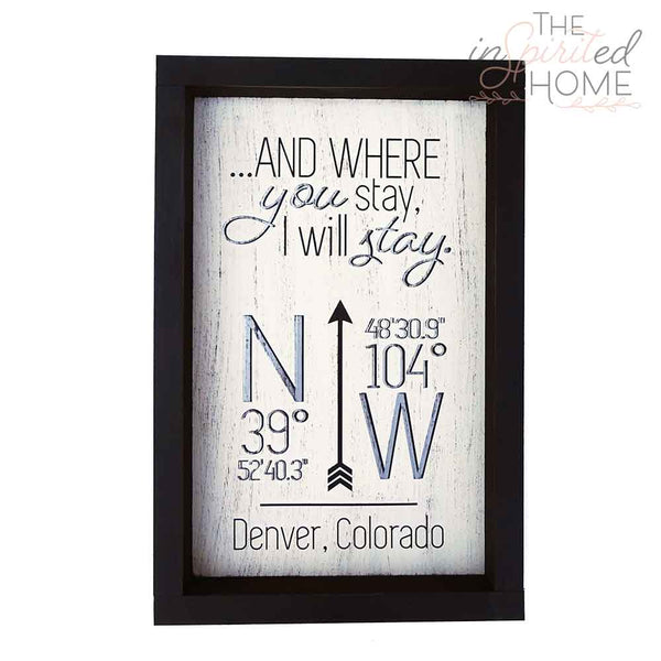 LATITUDE LONGITUDE coordinates - Wood Wall Decor Set