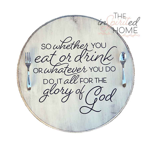Decorative Wood Serving Tray with Handles - 1 Corinthians 10:31
