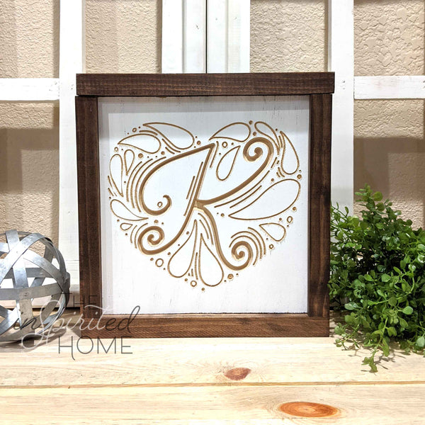 Heart Monogram - Carved Wooden Wall Art