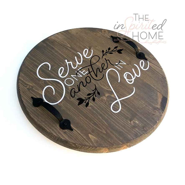 Decorative Wood Serving Tray with Handles - Galatians 5:13