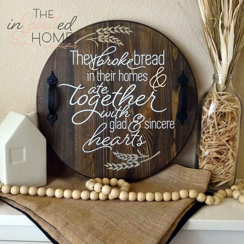 Decorative Wood Serving Tray with Handles - Acts 2:46 Sign