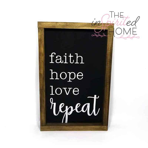 Faith Hope Love Rustic Wood Sign