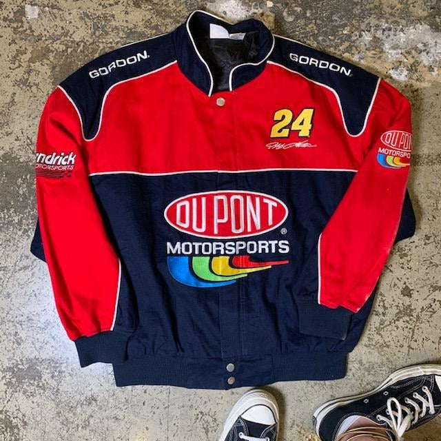 Vintage Dupont NASCAR Motorsports Racing Jacket Navy & Red L