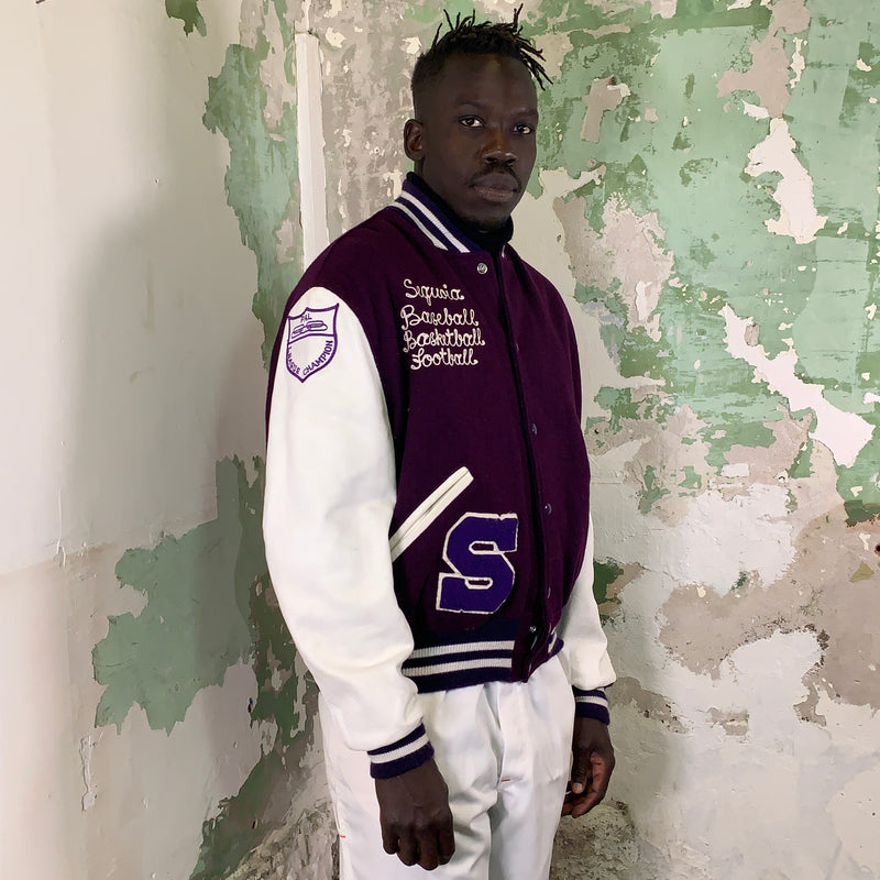 Vintage 92 Letterman Jacket with Leather Sleeves XL