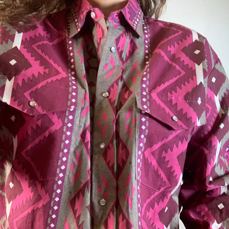 Vintage 90s Rodeo Button Up Shirt Pink Aztec L