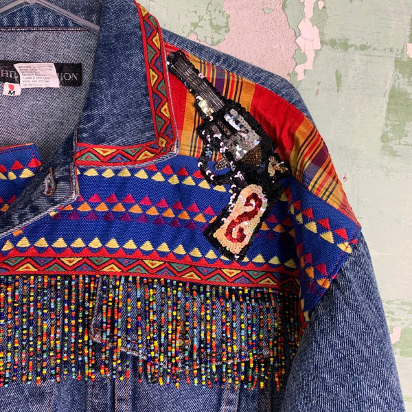 Vintage early 90s Fringe Sequin Denim Jacket M