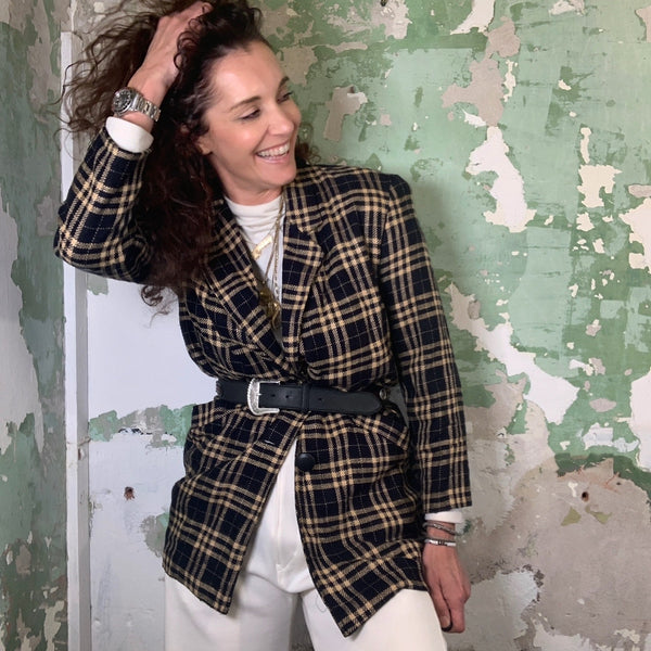 Vintage Check 80s Oversized Wool Blazer L-XL