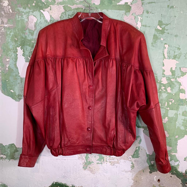 Vintage Lightweight 80s Leather Bomber Jacket XL