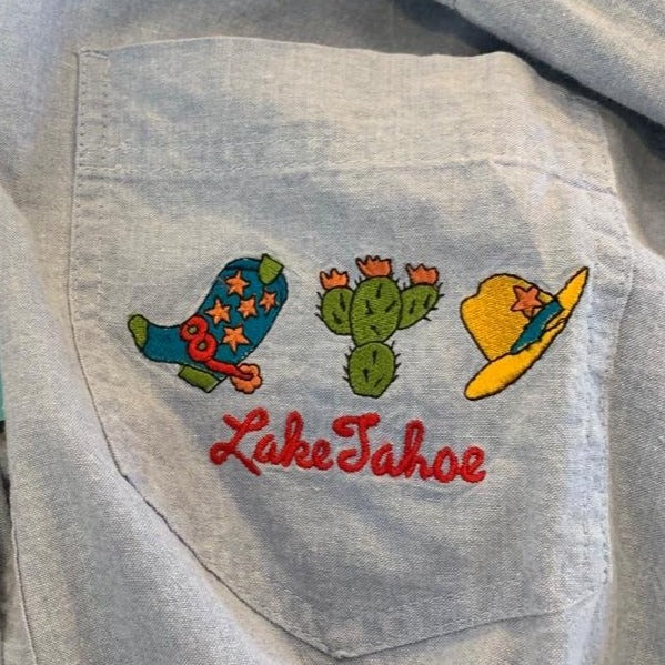 Vintage 80s Lake Tahoe Embroidered Shirt S