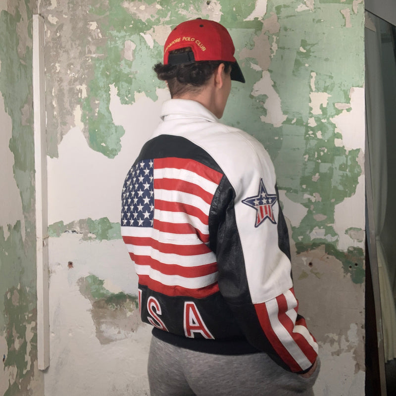 Vintage 90s Leather Embroidered USA Bomber Jacket L