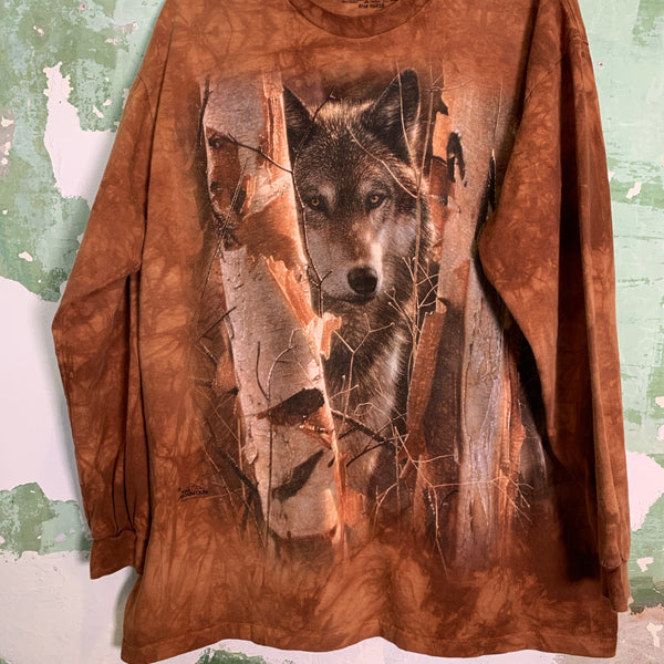 Vintage 'The Mountain' Wolf Brown Tee L