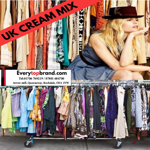 25 KG Wholesale Second Hand Women's Clothing Cream Grade £7 Per KG - Everytopbrand.com