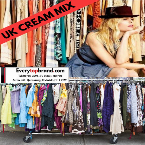 25 KG  Wholesale Second Hand Women's Clothing Cream Grade £7 Per KG