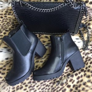 Angel Ankle Boot - Black Faux Leather