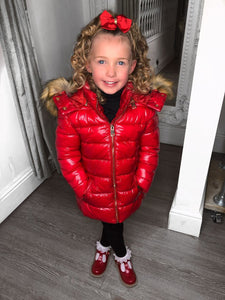 Sophie Metallic Kids Coat - Red