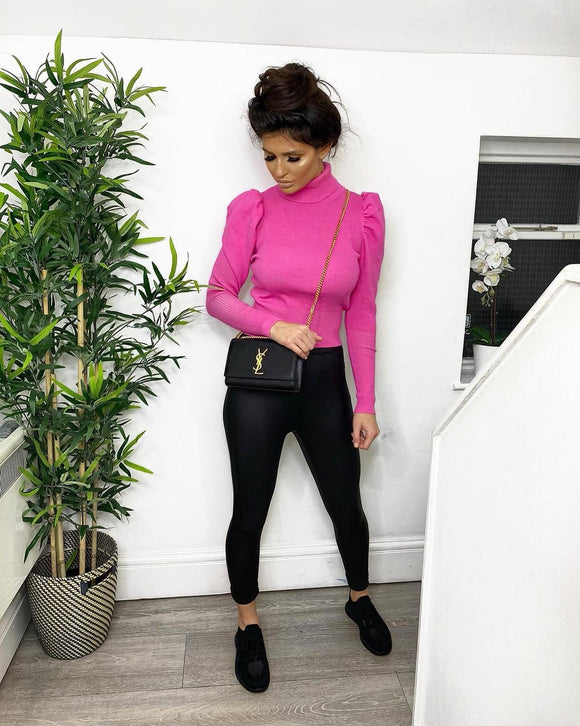 Scarlett Puff Sleeve Polo Neck Jumper - Neon Pink