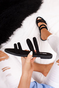 Willow Flat Strap Sandals - Black Suede
