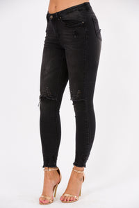 Saints Distressed Ankle and Knee Jeans  -  Worn Black