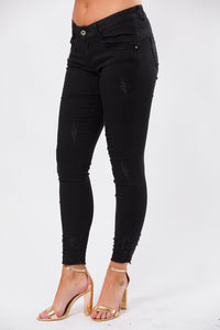 Caila Distressed Ankle Jeans  - Black