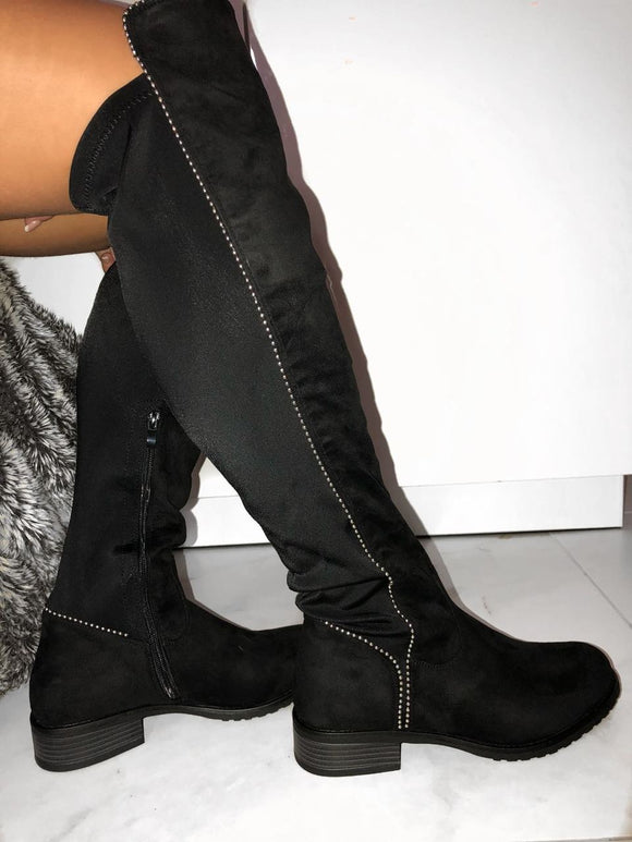 Aria Knee High Boots - Black Suede