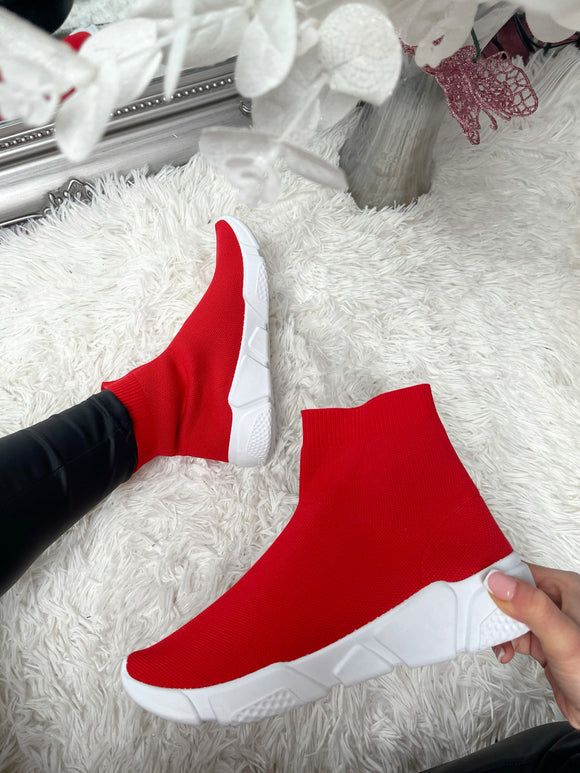 Becki Sock Trainers - Red