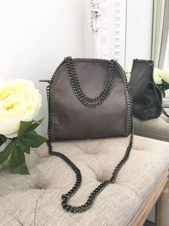Nessa Chunky Chain Medium Bag - Dark Grey