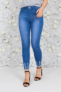 Caila Distressed Ankle Jeans - Bright Blue