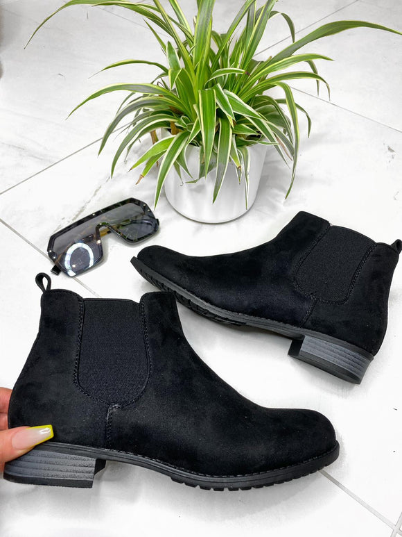 Ellie Ankle Boots - Black Suede