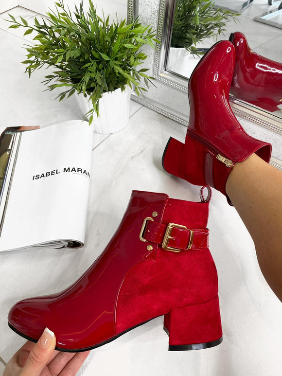 Bella Side Buckle Ankle Boot - Red Patent