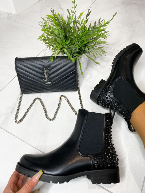 Mimi Embellished Ankle Boots - All Black Faux Leather