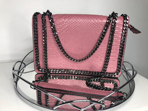 Araz Snake Effect Bag - Raspberry Purple
