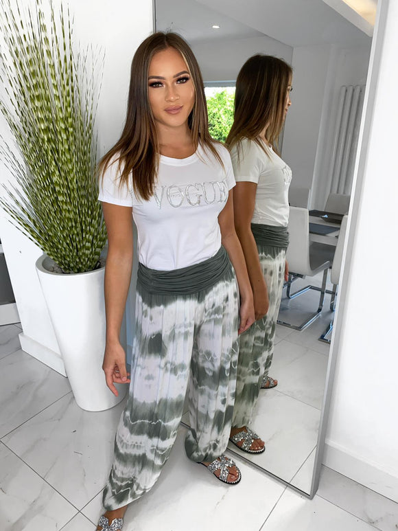 Raina Tie Dye Trousers - Green