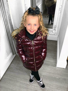 Sophie Metallic Kids Coat - Wine