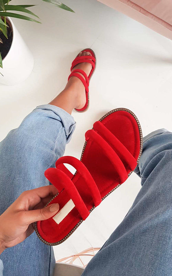 Willow Flat Strap Sandals - Red Suede