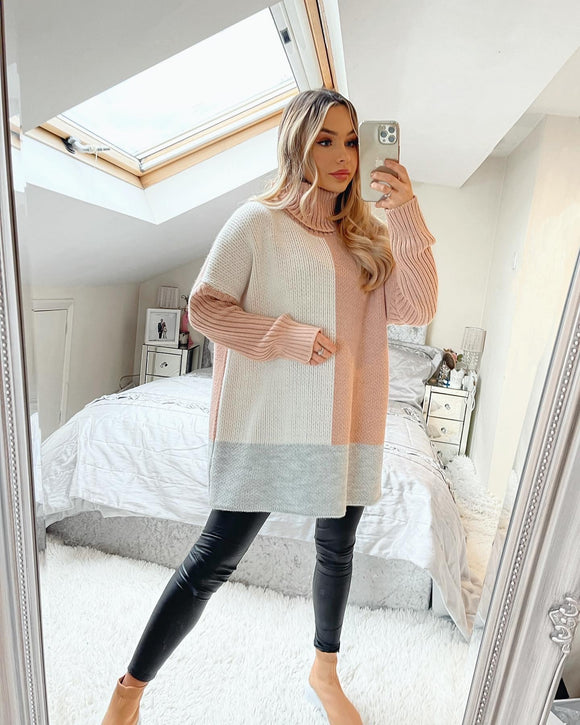 Peyton Polo Neck Jumper - Peach/White/Grey
