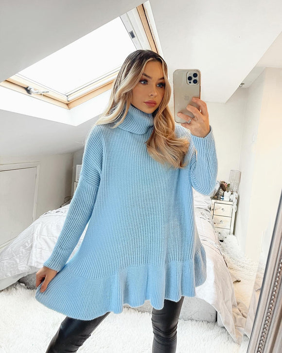 Rose Frill Bottom Polo Neck Jumper - Blue