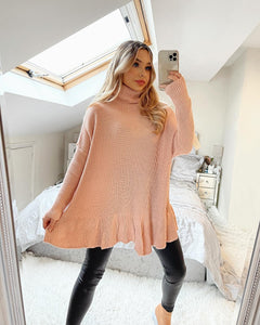 Rose Frill Bottom Polo Neck Jumper - Pink