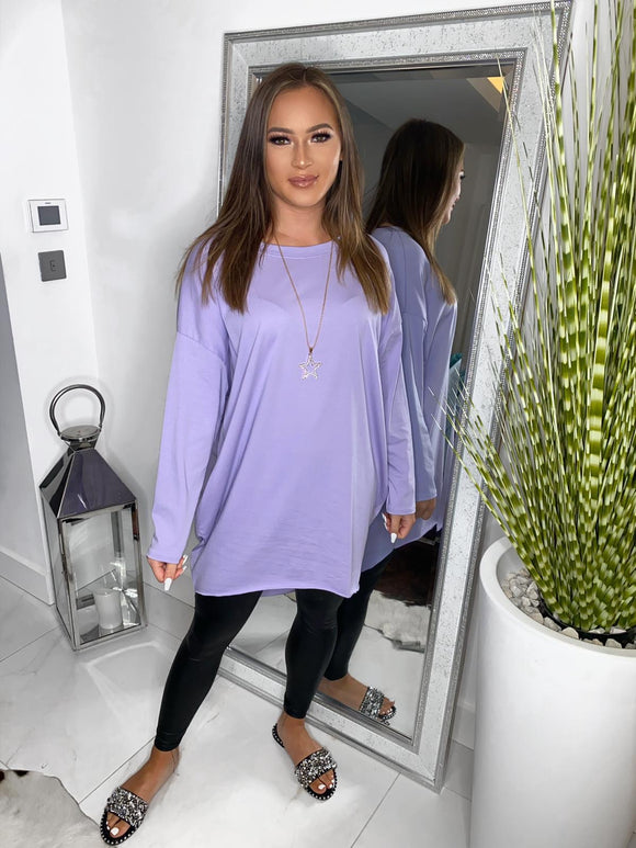Lyndsey Oversize Long Sleeve Top - Purple