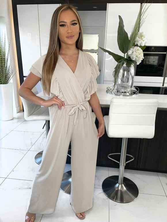 Gracie Frill Front Belted Jumpsuit - Beige
