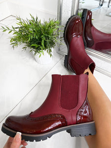 Kenzie Brogue Ankle Boots - Wine
