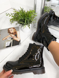 Luci Lace Up Flat Ankle Boots - Black Patent