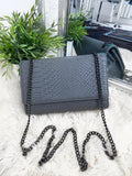 Cora Snake Detail Bag - Dark Grey