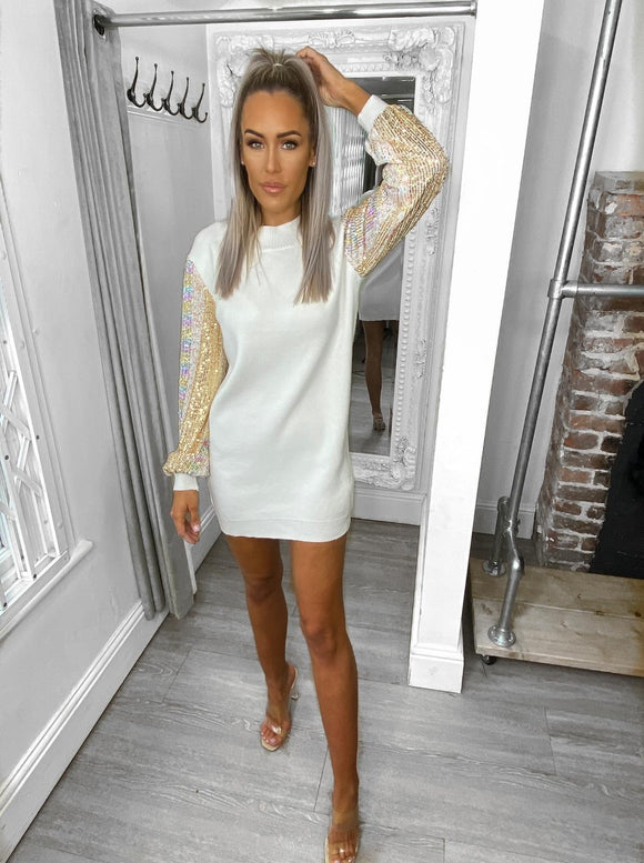 Olivia Sequin Detail Jumper Dress - White
