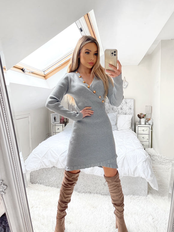 Alina Gold Button Crossfront Jumper Dress - Grey