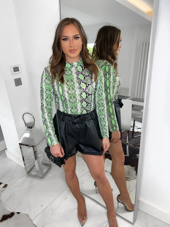 Evie Snake Print Long Sleeve Top - Green