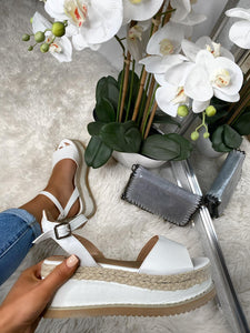 Stella Flatforms Espadrilles - White Faux Leather